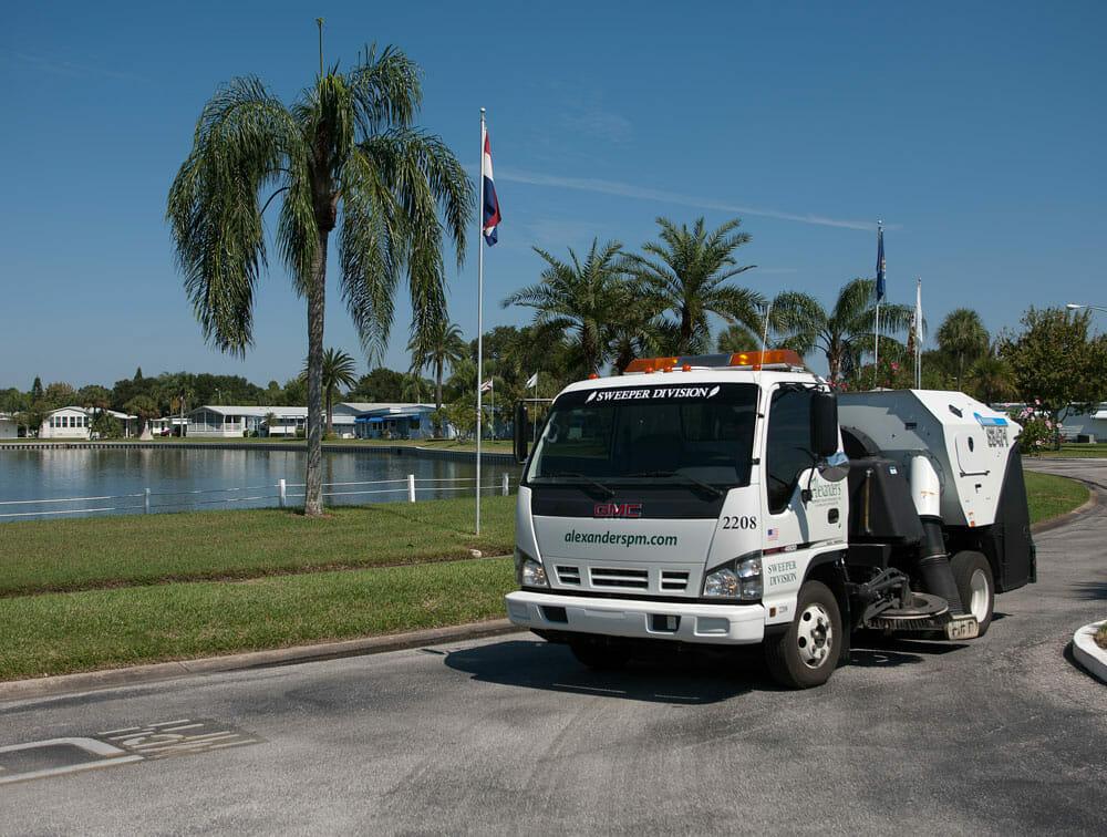 A street Sweeping truck